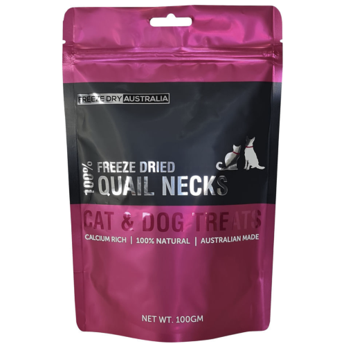 Freeze Dry Australia, Dog & Cat Treats, Freeze Dried, Quail's Necks