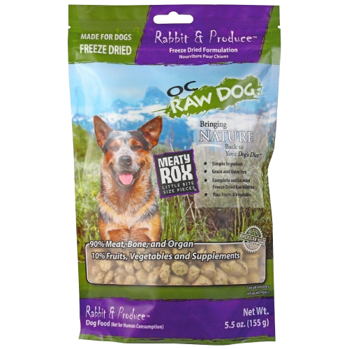 OC Raw, Dog Food, Mixers & Toppers, Freeze Dried, Meaty Rox, Rabbit
