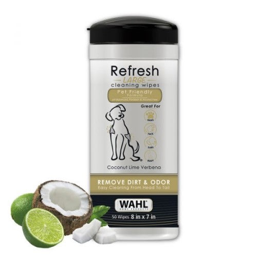 Wahl, Dog Hygiene, Wipes & Ear Washes, Coconut Lime Verbena Refresh Large Dog Wipes