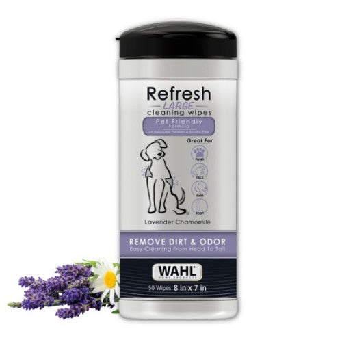 Wahl, Dog Hygiene, Wipes & Ear Washes, Lavender Chamomile Refresh Large Dog Wipes