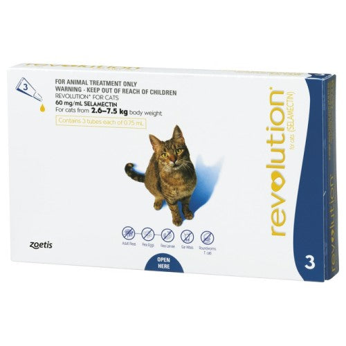 Revolution, Cat Healthcare, Fleas & Deworm, Cats 2.6kg to 7.5kg