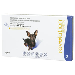 Revolution, Dog Healthcare, Fleas & Deworm, Dogs 2.6kg to 5kg (Extra Small Dogs)