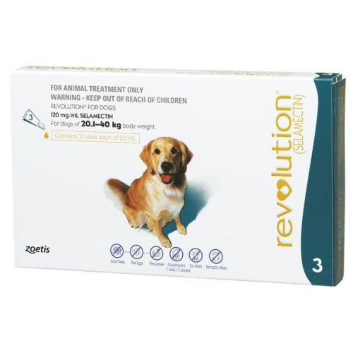 Revolution, Dog Healthcare, Fleas & Deworm, Dogs 20.1kg to 40kg (Large Dogs)