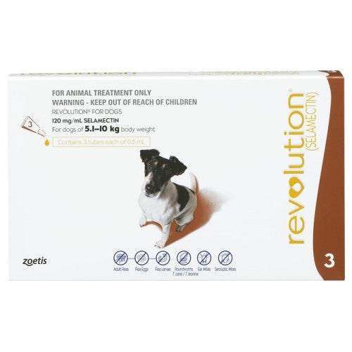 Revolution, Dog Healthcare, Fleas & Deworm, Dogs 5.1kg to 10kg (Small Dogs)