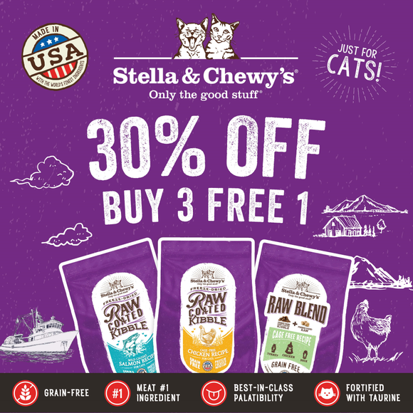Stella & Chewy's, Cat Food, Freeze Dried Raw Coated & Raw Blend Kibble, Buy 3 Get 1 FREE at 30% OFF