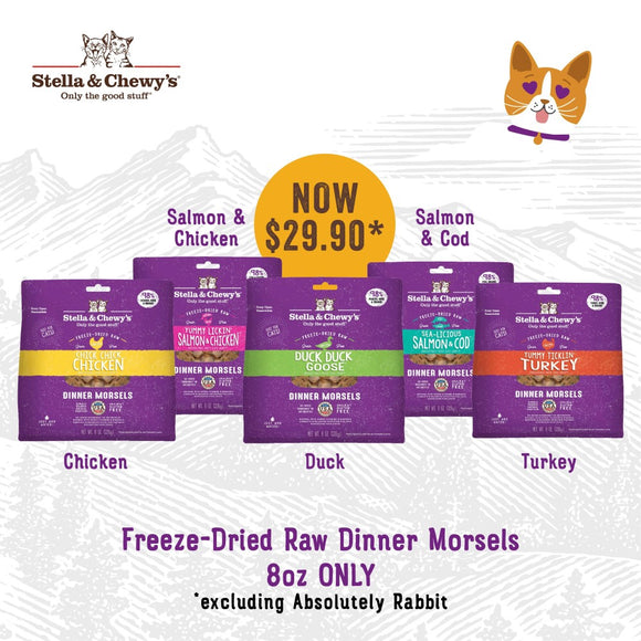 Stella & Chewy's, Cat Food, Freeze-Dried, Dinner Morsels, $29.90 for 8oz