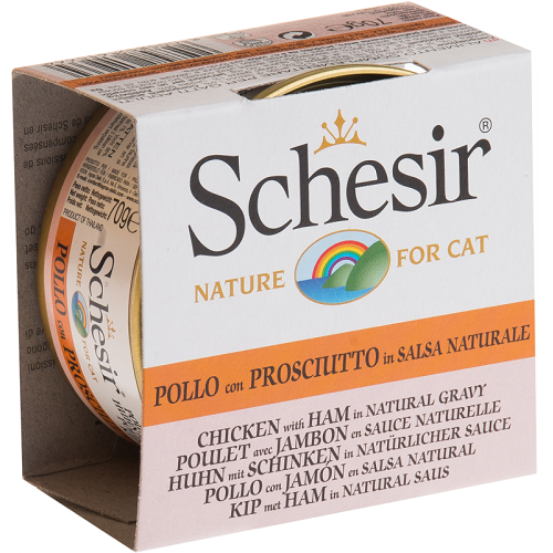 Schesir, Cat Wet Food, Gravy, Chicken with Ham (By Carton)