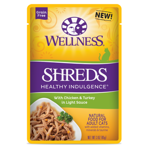 Wellness Complete Health, Cat Wet Food, Grain Free, Healthy Indulgence, Shreds, Chicken & Turkey
