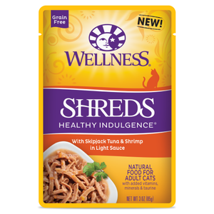 Wellness Complete Health, Cat Wet Food, Grain Free, Healthy Indulgence, Shreds, Tuna & Shrimps