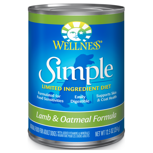 Wellness Simple, Dog Wet Food, Limited Ingredient Diet, Pate, Lamb & Oatmeal