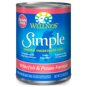 Wellness Simple, Dog Food, Mixers & Toppers, Simple, Limited Ingredient Diet, Grain Free, Pate, Whitefish & Potato