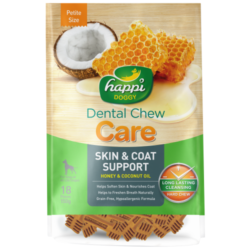 Happi Doggy, Dog Hygiene, Oral & Dental Care, Care Dental Chew, Skin & Coat Support, Honey & Coconut Oil