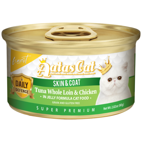 Aatas Cat, Cat Wet Food, Finest Daily Defence, Skin & Coat, Tuna Whole Loin & Chicken (By Carton)