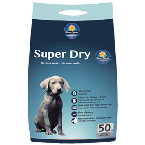 Blue Clean, Dog Hygiene, Pee & Poo, Super Dry SAP 5g, Super Absorbent Pee Pad (2 Sizes)