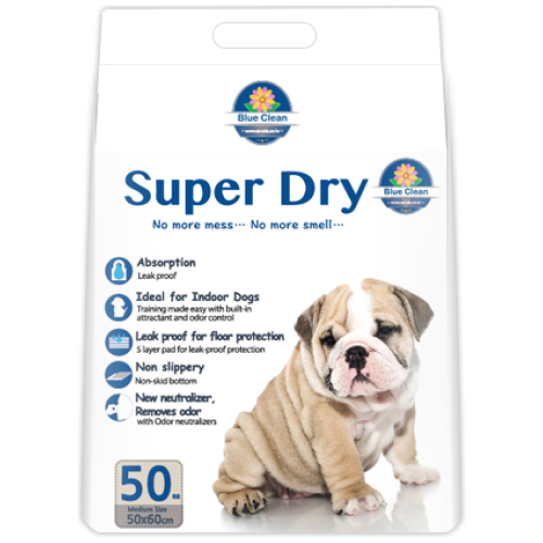 Blue Clean, Dog Hygiene, Pee & Poo, Super Dry SAP 7g, Ultra Absorbent Pee Pad (2 Sizes)
