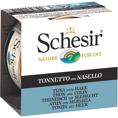 Schesir, Cat Wet Food, Jelly, Tuna with Hake (By Carton)