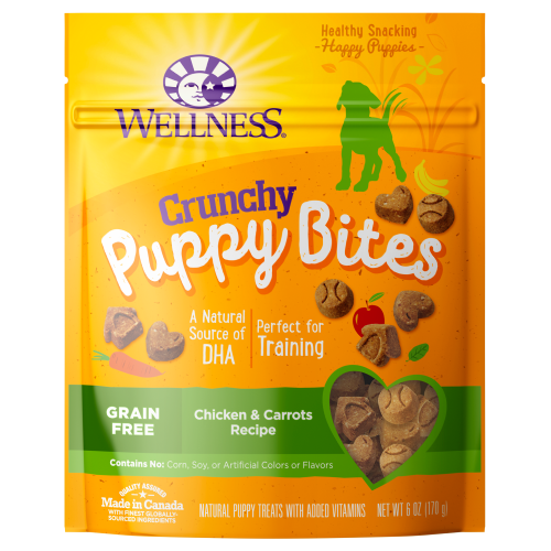 Wellness Complete Health, Dog Treats, Grain Free, Puppy Bites, Crunchy Chicken & Carrots