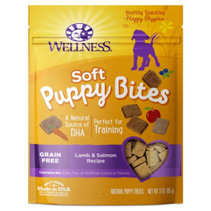 Wellness Complete Health, Dog Treats, Grain Free, Puppy Bites, Soft Lamb & Salmon