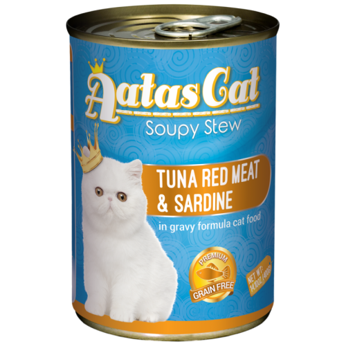Aatas Cat, Cat Wet Food, Soupy Stew, Tuna Red Meat with Sardine in Gravy (By Carton)