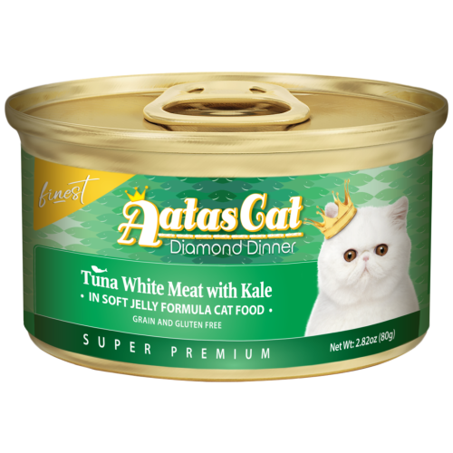 Aatas Cat, Cat Wet Food, Finest Diamond Dinner, Tuna with Kale in Jelly (By Carton)