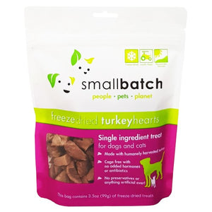 Smallbatch, Dog & Cat Treats, Freeze Dried, Single Ingredient Heart Treat, Turkey Hearts