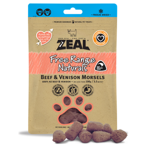 Zeal, Dog & Cat Treats, Freeze Dried, Beef & Venison Morsels