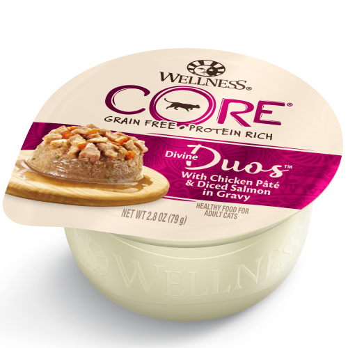 Wellness Core, Cat Wet Food, Grain Free, Divine Duos, Chicken Pate & Diced Salmon