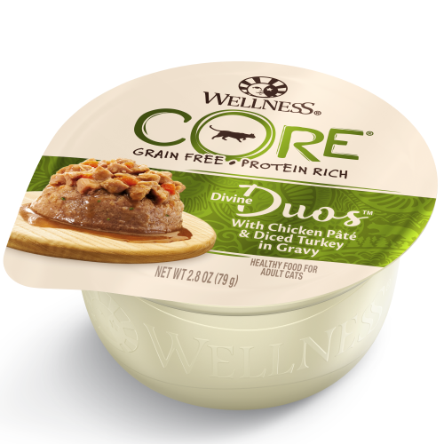 Wellness Core, Cat Wet Food, Grain Free, Divine Duos, Chicken Pate & Diced Turkey