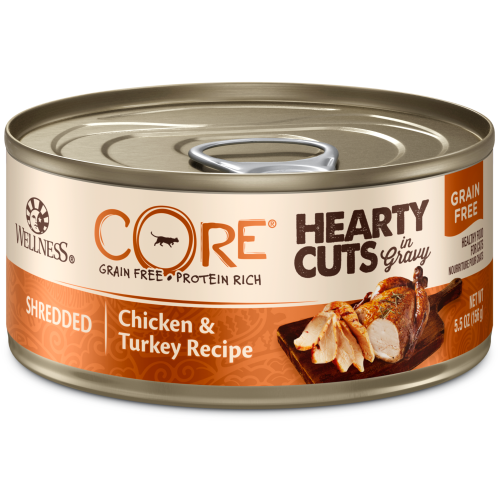 Wellness Core, Cat Wet Food, Grain Free, Hearty Cuts, Chicken & Turkey