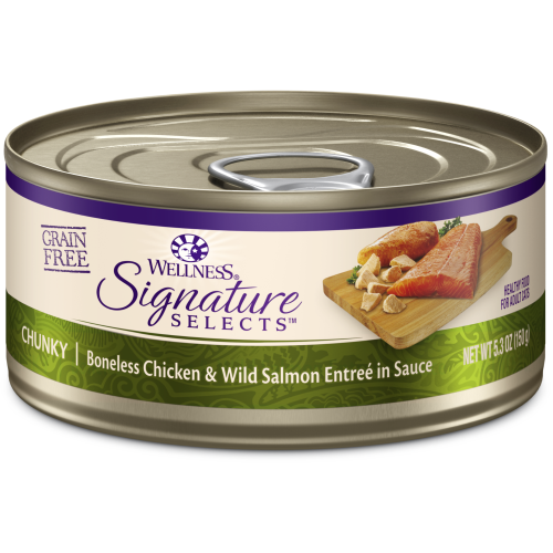 Wellness Core, Cat Wet Food, Grain Free, Signature Selects, Chunky Chicken & Salmon
