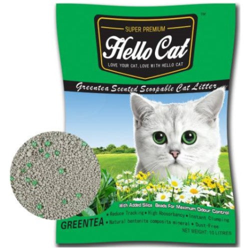 Hello Cat, Cat Hygiene, Litter, Bentonite Cat Sand, Green Tea