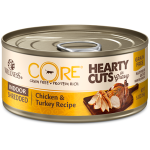 Wellness Core, Cat Wet Food, Grain Free, Hearty Cuts, Indoor, Chicken & Turkey