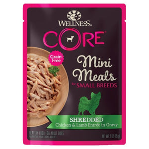 Wellness Core, Dog Wet Food, Grain Free, Small Breed, Mini Meals, Shredded, Chicken & Lamb Entree in Gravy