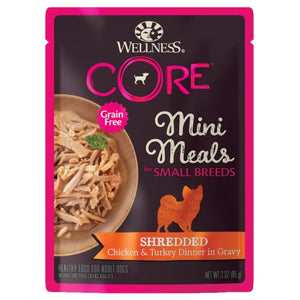 Wellness Core, Dog Wet Food, Grain Free, Small Breed, Mini Meals, Shredded, Chicken & Turkey Dinner in Gravy