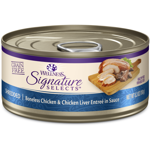 Wellness Core, Cat Wet Food, Grain Free, Signature Selects, Shredded Chicken & Chicken Liver