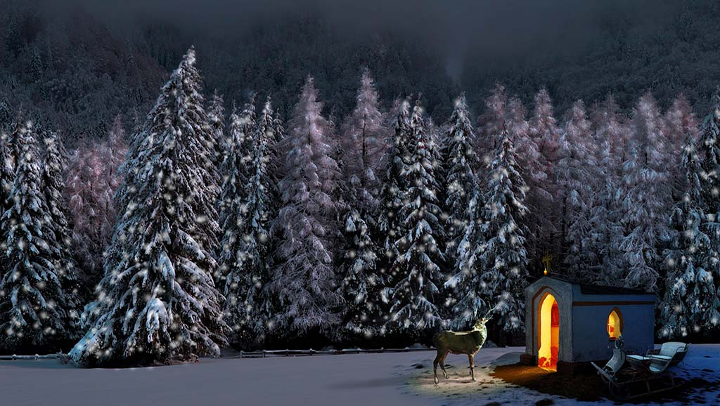 Snow covered trees at night near a small chapel with a light on
