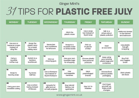 Calendar with 31 tips for Plastic-Free July