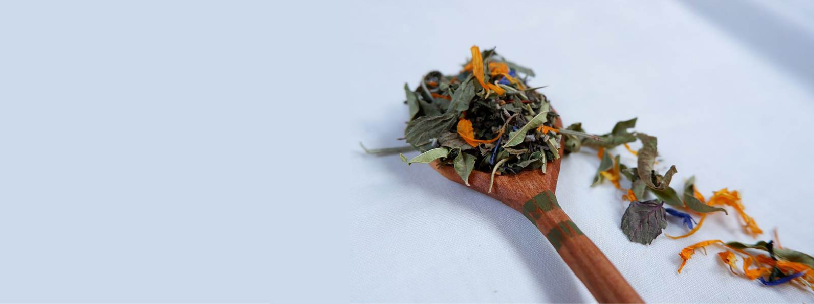 Loose tea made from flowers on a wooden spoon