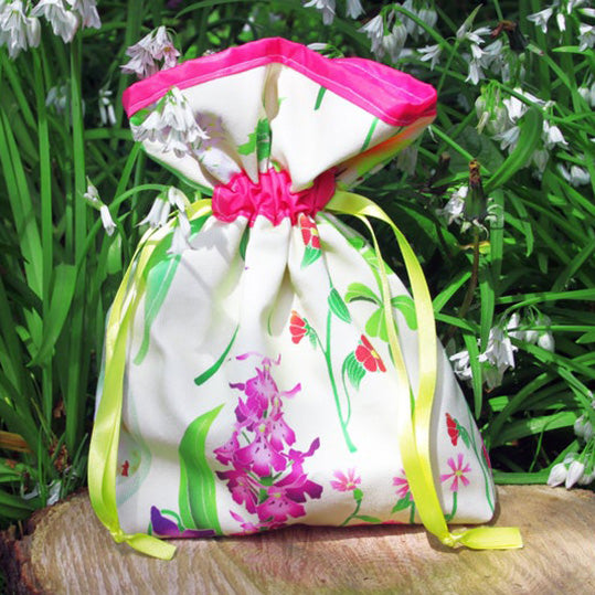 Pink Floral fully lined drawstring backpack