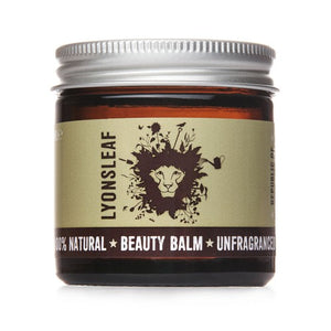 Unfragranced beauty balm in glass jar and metal lid made by Lyonsleaf Republic of Natural Skincare