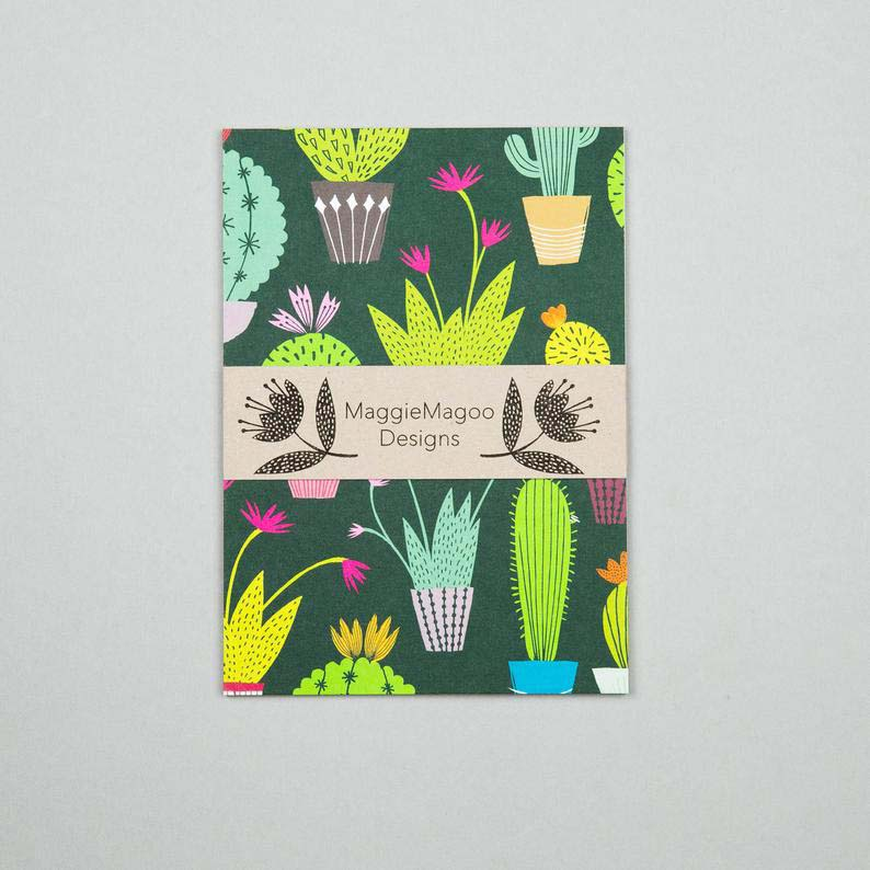 Maggie Magoo Designs set of 6 postcards with cacti and fungi
