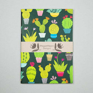 Dark notebook with belly band with bright coloured cacti and succulent design made by Maggie Magoo Designs