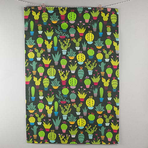 Maggie Magoo mini cactus tea towel on dark background