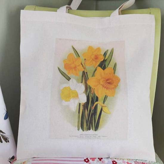 Spring yellow daffodils print on a eco-friendly cotton bag