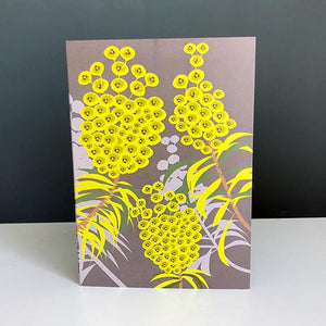 Exotic and sculptural Euphorbia bracts on a greetings card designed by Alison Bick