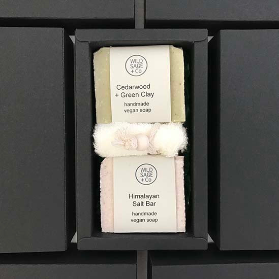 A boxed gift set of Forest vegan soap duo