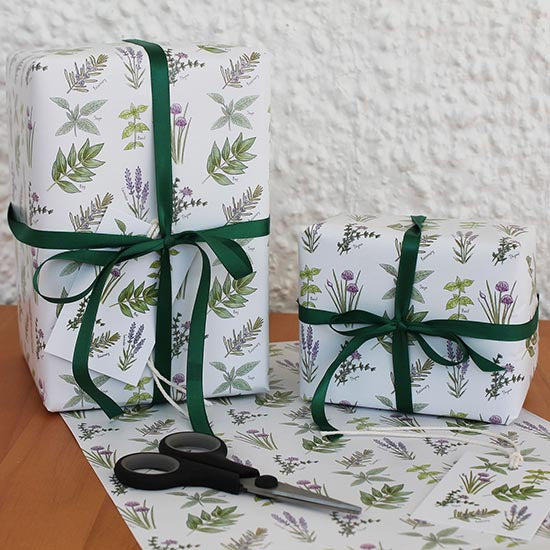 Herb design gift wrap and tags by RieDesigned