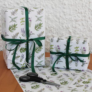 Presents wrapped in herb design gift wrap by RieDesigned