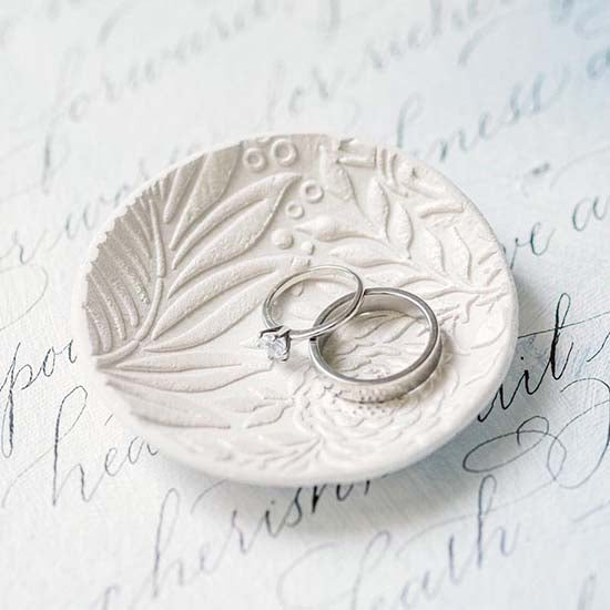 White jewellery dish with botanical print