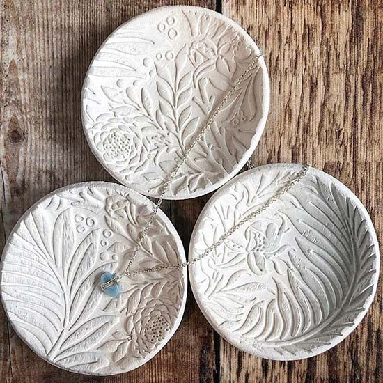Cornucopia Clay White jewellery dish with botanical print